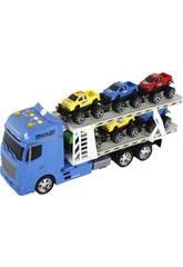 Camion Bleu à Friction avec Remorque et 6 Voitures