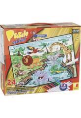 Puzzle da Colorare Animali della Giungla 24 pezzi e 12 Pennarelli 89,5x82,5 cm