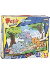 Puzzle à Colorier Animaux 24 Pièces et 12 Feutres 89,5 x 82,5 cm