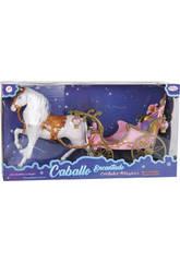 Cavalo Mágico Melena com Carruagem Rosa.