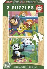 Puzzle Bois 2x9 Animaux Zoo Educa 17616
