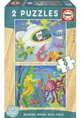 Puzzle Bois 2x9 Animaux Aquatique Educa 17617