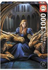 Quebra-cabeça 1000 Lealtad Feroz de Anne Stokes Educa 17692