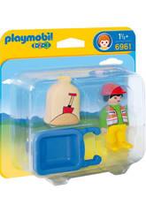 Playmobil 1,2,3 Trabajador con Carretilla