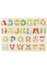 Puzzle Madeira Letras Maiúsculas 26 Peças 2x30x23cm