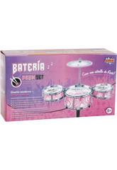 Bateria Jazz Rosa 3 Tambores y Platillos