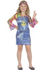 Disfraz Hippie Vaquera Niña Talla XL