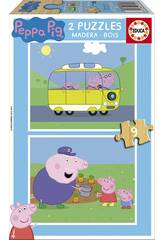 Puzzle 2X9 Peppa Pig 18x15 cm EDUCA 17156