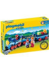 Playmobil 1,2,3 Train Étoilé avec Passagers et Rails