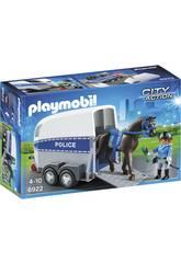 Playmobil Policía Con Caballo y Remolque 6922