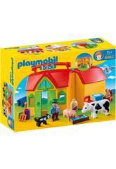 Playmobil 1,2,3 Ferme Transportable Avec Animaux