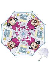 Paraguas Infantil Minnie 48/8 Manual Transparente con Cúpula Bisetti WD9751