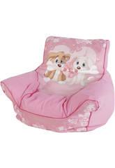 Poltrona Puff cuccioli osso rosa