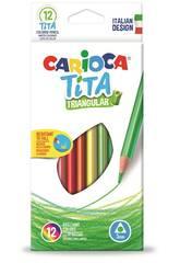 Boîte 12 Crayons de couleurs Tita Triangulaire Carioca 42786