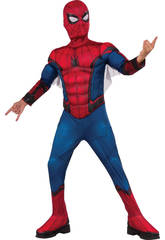 Déguisement Enfant Spiderman avec Masque et Torse Musclé Taille L