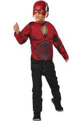 Costume Bambino Flash Justice League con Maschera e Petto Muscoloso Rubies 34075
