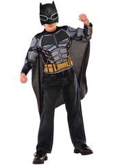 Disfarce Menino Batman Armored Com Máscara e Peito Musculoso (112 - 122cm)