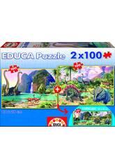 Puzzle Junior 2 x 100 Dino World