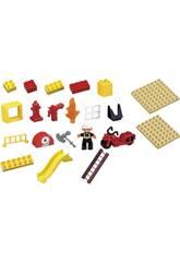 Cubo Bloques Construcción Bomberos 31 Piezas