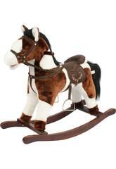 Peluche Baloiço Cavalo Marrom e Branco Som 46 Cm