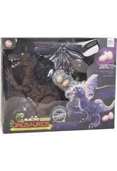 Dinosaure 32 cm qui Marche avec Lumière, Son et 3 Oeufs