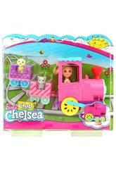 Barbie Club Chelsea Bambola e Trenino con 3 Vagoni Agganciabili, 1 Gattino e 1 Cagnolino Mattel FRL86