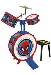 Spiderman Bateria 3 Elementos Com Banquinho Reig 555