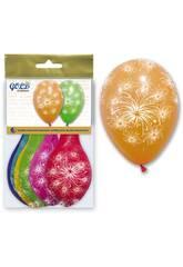 Bolsa de 6 globos colores fuegos artificiales Globolandia 5715