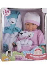 Babypuppe Set 36 cm. mit Plüschtiere und Kleidung