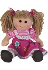 Muñeca Trapo Vestido Rosa Pana 35 cm.