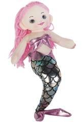 Sirena Rosa Argento Bambola di Pezza 50 cm.