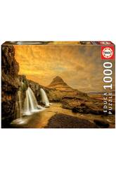 Puzzle 1.000 Kirkjufellsfoss Wasserfall Island Educa 17971