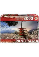 Puzzle 3.000 Fuji und Pagoda Chureito Japan Educa 18013