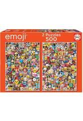 Puzzle 2x500 Emoji Educa 17992