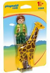 Playmobil 1,2,3 Tierpfleger mit Giraffe 9380