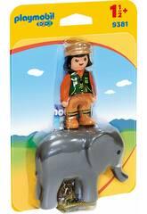 Playmobil 1,2,3 Soigneuse avec éléphant 9381