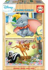 Puzzle 2x16 Disney Animals Dumbo et Bambi Educa 18079