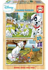 Puzzle 2x16 Disney Animals Dálmatas y Aristogatos Educa 18082
