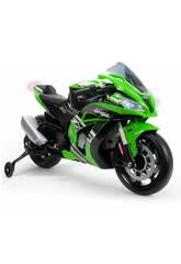 Moto de Batterie Kawasaki ZX10 Ninja 12V. avec des lumières et des sons Injusa 6495