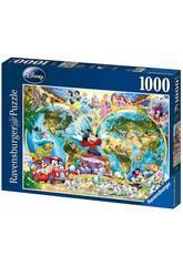 Puzzle Mapamundi Disney 1.000 Piezas Ravensburger 15785