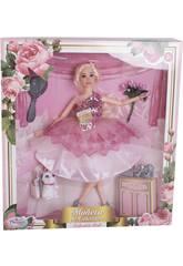 Muñeca Maniquí Colección 29 cm. Rosa Lentejuelas con Accesorios