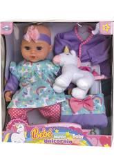 Bebé 40 cm. com Unicornio e Acessórios