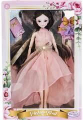 Muñeca Estilo Japón 29 cm. Vestido Cor-de-rosa Sem Mangas
