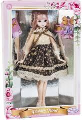 Poupée Style Japonais 29 cm. Jupe Noire à Fleurs