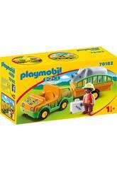 Playmobil 1,2,3 Veicolo dello Zoo con Rinoceronte Playmobil 70182