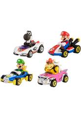 Hot Wheels Pack 4 Vehículos Mario Kart Mattel GLN53