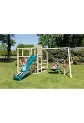 Parque Infantil Crossfit con Tobogán y Columpio Doble Masgames MA811901
