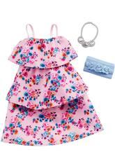 Conjunto Barbie Moda Look Vestido Flores Mattel GHW80