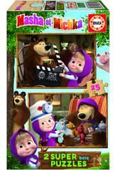 Puzzle Bois 2x25 Masha & Micka Educa 18600
