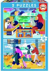 Puzzle 2X48 Aeropuerto + Tren Educa 18604